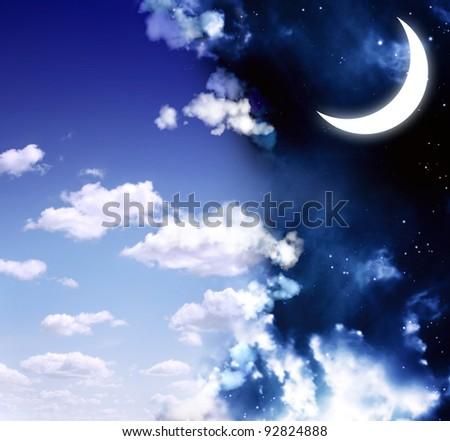 Dark series - day and night - stock photo