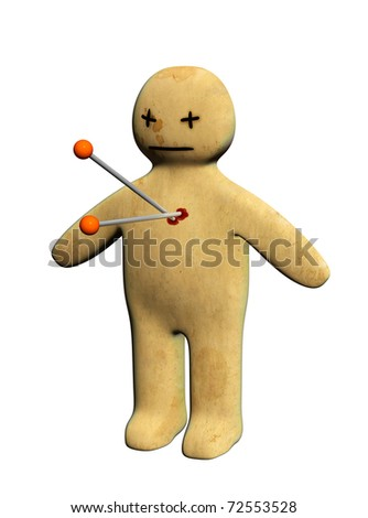 Dark series - standing voodoo doll, pierced with pins. Isolated over white - stock photo
