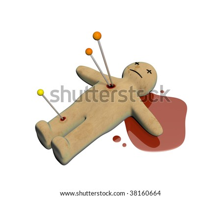 Dark series - voodoo doll, pierced with pins. Isolated over white - stock photo