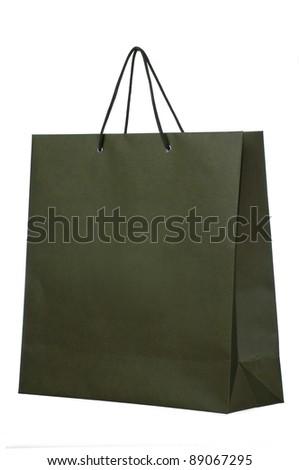dark shopping paper bag isolated on white - stock photo