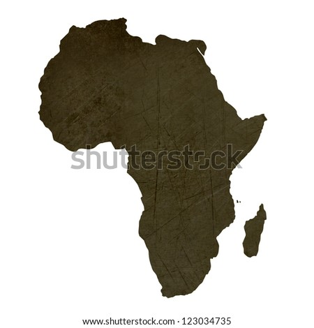 Dark silhouetted and textured map of African continent isolated on white background. - stock photo