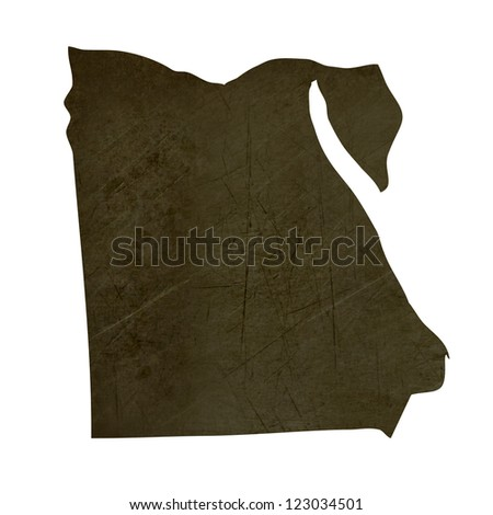 Dark silhouetted and textured map of Egypt isolated on white background.