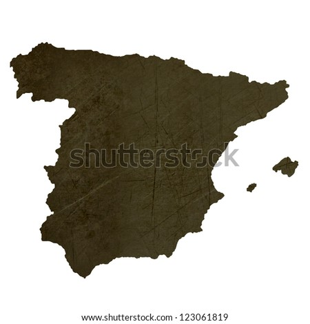 Dark silhouetted and textured map of Spain isolated on white background.