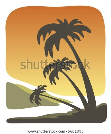 Dark silhouettes of three palm trees on a background of a tropical decline.