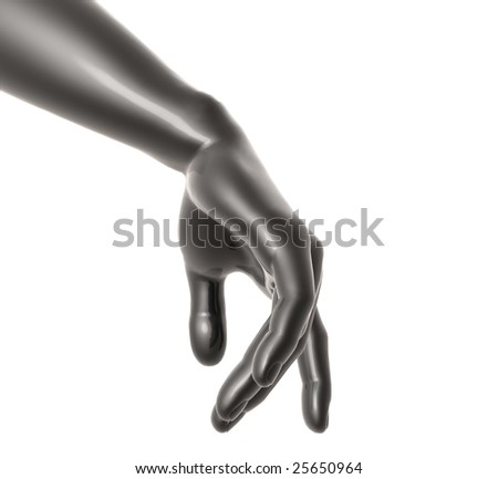 Dark silver hand poses like human walking - stock photo