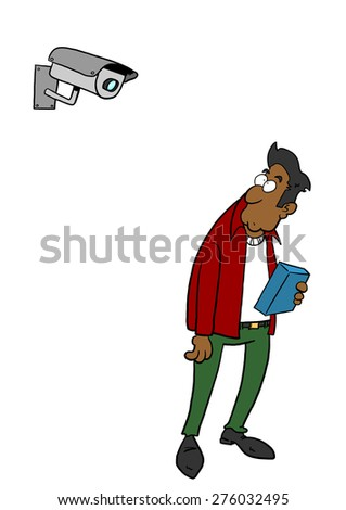 Dark skinned man being watched by camera - stock photo