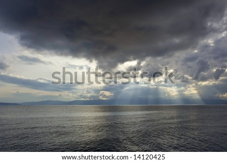 Dark sky over Adriatic sea - stock photo