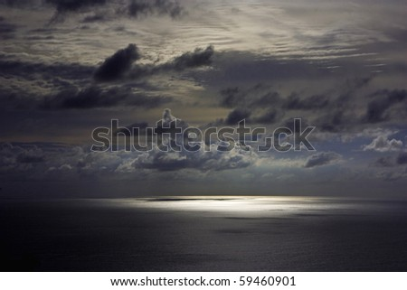 Dark sky over Andaman sea - stock photo