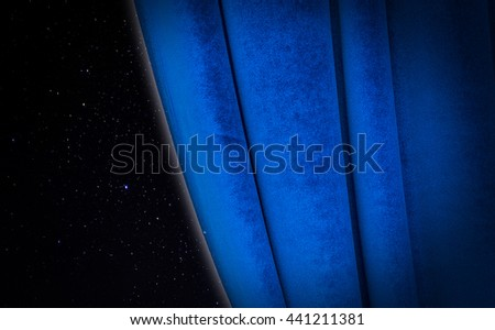 Dark sky with bright stars and blue curtain - conceptual picture - stock photo
