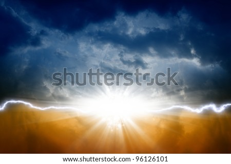 Dark sky with bright sun and lightning - stock photo