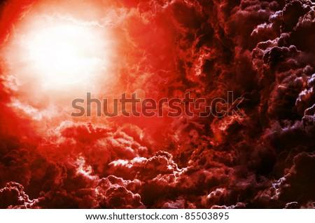 dark sky with moon - stock photo