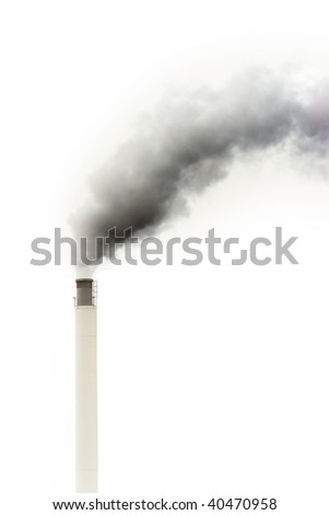 Dark smoke from a chimney against gray sky