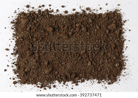 Dark Soil isolated on White Background. Pile of Dirt and Stones. Top View of a Heap of Ground. Close Up Macro View with Text or Image Space - stock photo