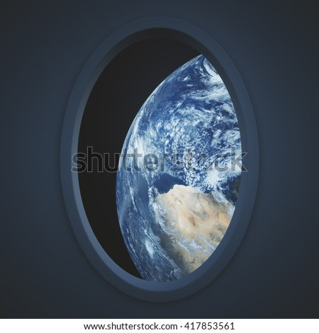 Dark spaceship window with earth view. Elements of this image furnished by NASA. 3D Rendering - stock photo