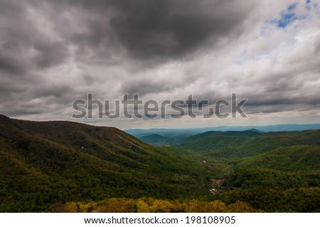 Dark spring storm clouds over the Appalachian Mountains, from Skyline Drive in Shenandoah National Park, Virginia. - stock photo