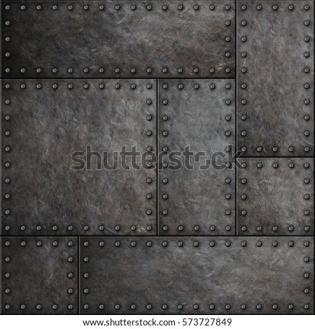 Dark stained metal plates with rivets seamless background 3D illustration
