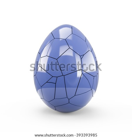 Dark State Blue Cracked Egg isolated on white background. Clipping path is included. Great use for business related concepts and metaphors.
