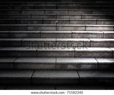 Dark stone stairway. - stock photo
