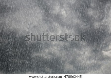 dark storm clouds with falling rain