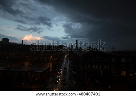 Dark Storm rolling into the city of Toronto