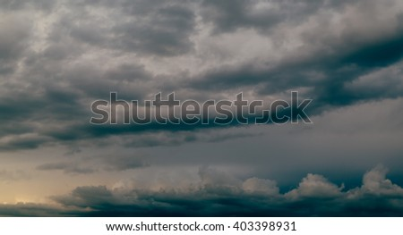 Dark storm sky and gray clouds - stock photo
