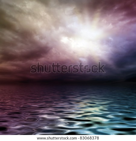 dark storm sky over water surface with artistick shadows added - stock photo