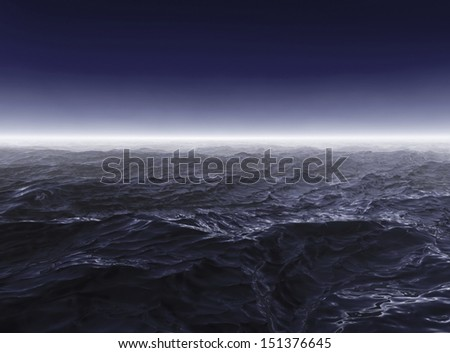 Dark stormy sea waters in foggy night - stock photo