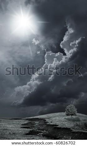 Dark stormy sky - stock photo