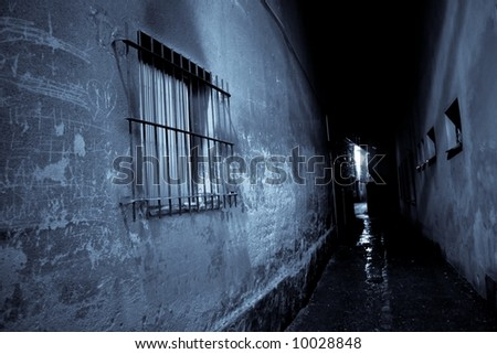 Dark street at night, stylized to blue color - stock photo