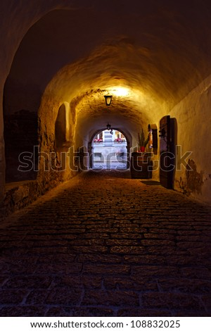 dark street in the old European city - stock photo