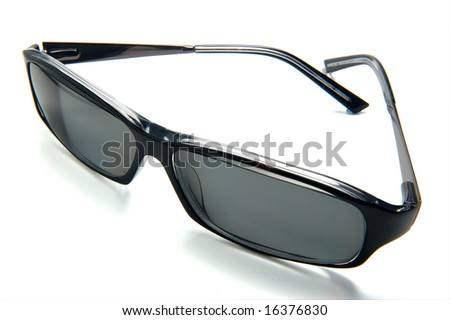Dark Sunglasses brightly lit on a white background
