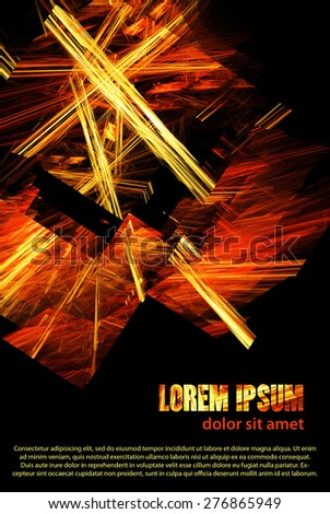 Dark template of abstract poster with chaotic fire lines on a black background. Raster layout - stock photo