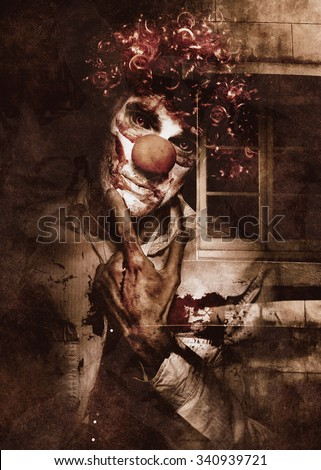Dark theatrical horror art of a evil clown musing with scary expression in front of a horror house window. Creepy freak show - stock photo