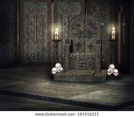 Dark Throne Palace Background - stock photo