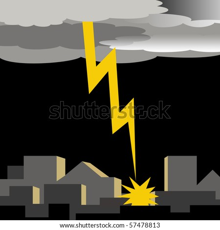 dark thunder clouds and lightening strike illustration - stock photo