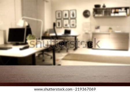 dark top and free space in office interior  - stock photo