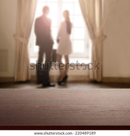 dark top and woman with man  - stock photo