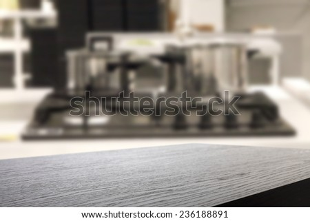 dark top board and kitchen place  - stock photo