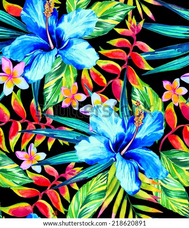 Dark tropical painted artistic seamless pattern on black. - stock photo