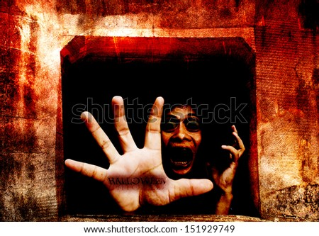 Dark Tunnel Part 2, Welcome To My Halloween,Dramatic Look - stock photo