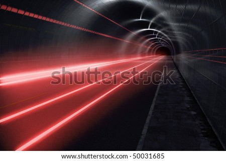 Dark tunnel with light trails - stock photo