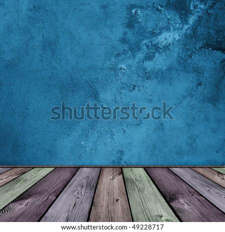 dark vintage blue and wooden interior - stock photo