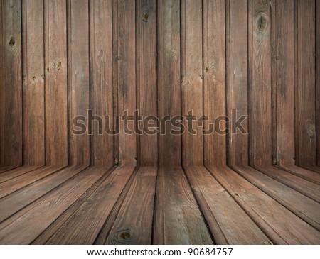 dark vintage brown wooden planks interior with artistic shadows added - stock photo