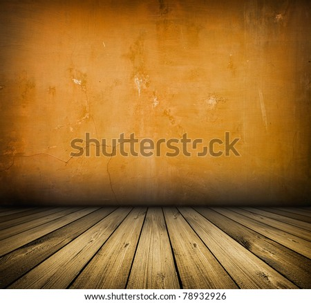 dark vintage red room with wooden floor and artistic shadows added - stock photo