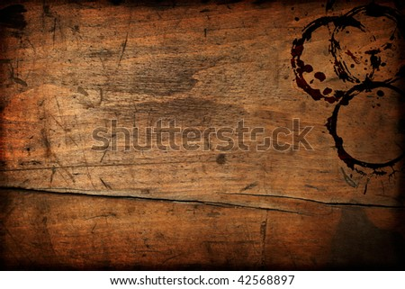 Dark vintage wood table texture with cup stains