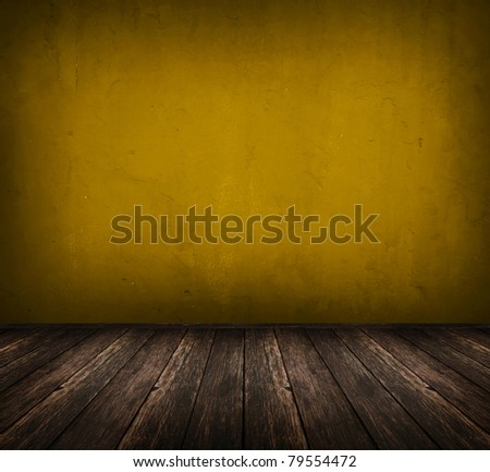 dark vintage yellow room with wooden floor and artistic shadows added - stock photo