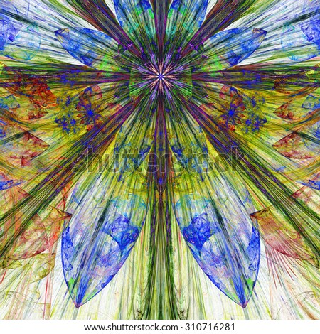 Dark vivid blue,green,red,yellow exploding flower/star fractal background with a detailed decorative pattern, all in high resolution. - stock photo