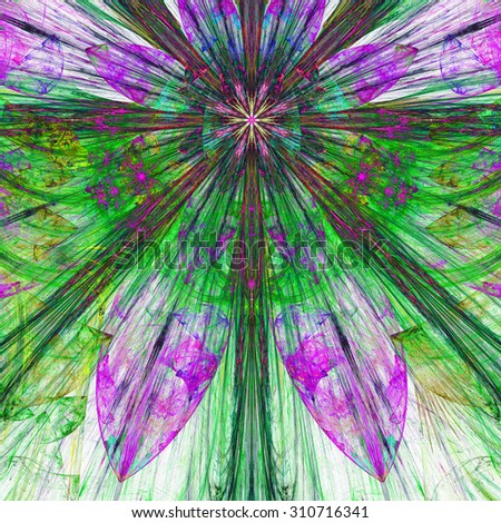 Dark vivid pink,purple,blue,green exploding flower/star fractal background with a detailed decorative pattern, all in high resolution. - stock photo