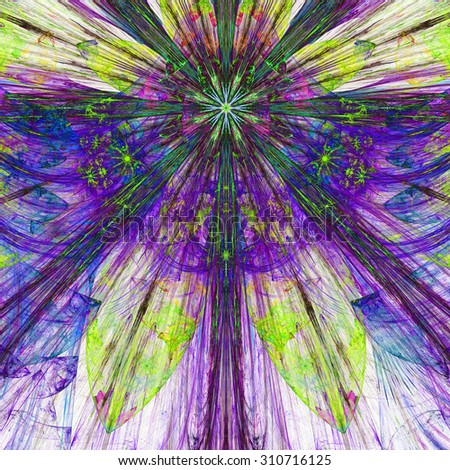 Dark vivid pink,purple,yellow,green exploding flower/star fractal background with a detailed decorative pattern, all in high resolution. - stock photo
