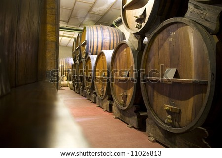 Dark wine cellar at a Bodega in Mendoza, Argentina - stock photo
